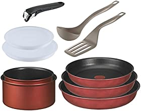 Tefal L3218702 Ingenio 5 Batterie de Cuisine Induction PTFE Rouge Surprise Set de 10 Pièces