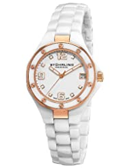 Stuhrling Original Women's 155.11EP3 Swiss Made Lady Apocalypse Noir Date White Ceramic Watch