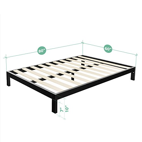 Zinus Modern Studio 10 Inch Platform 2000 Metal Bed Frame/Mattress Foundation, no Boxspring needed, Wooden Slat Support, Queen
