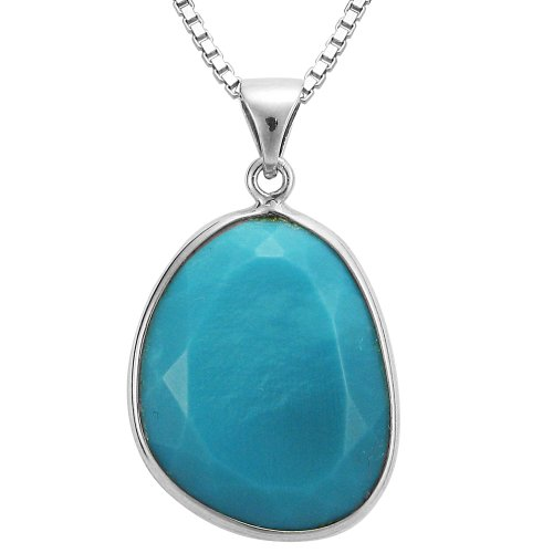 Sterling Silver Turquoise Sliver Pendant Necklace, 18