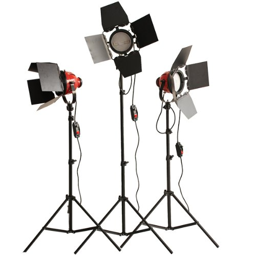 3 x 800W (2400W) Red Head Redhead light Continuous Lighting Photography Lights Kit with Dimmers Control & Heat Releasing Ring & 2M Light Stand UK plug