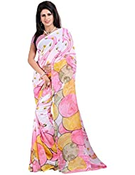 Vedant Vastram Woman's Heavy Georgette Printed Saree With Blouse Piece (White & Pink Colour)