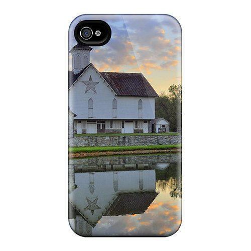 Protection Case For Iphone 4/4S / Case Cover For Iphone(Reflection Of A Lovely Country Church) back-797807