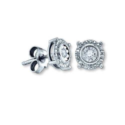 Genuine Diamond Stud Earrings Rhodium on Sterling Silver - Nontarnish