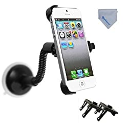 FlyStone iPhone 5S Gooseneck Car Vehicle Windshield Suction Cup Mount Rotating Holder for Apple iPhone 5 & iPhone 5S ONLY (NOT Fit For iPhone 5C) COMES WITH A FLYSTONE MICROFIBER CLEANING CLOTH.