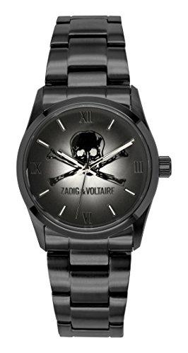 Zadig & Voltaire ZV 001/3AM-Rock Unisex Watch-Analogue Quartz-Black Dial-Stainless Steel Black Plated Bracelet