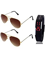 GOLDEN BROWN AVIATOR SUNGLASSES AND GOLDEN BROWN AVIATOR SUNGLASSES WITH TPU BAND RED LED DIGITAL BLACK DIAL UNISEX...