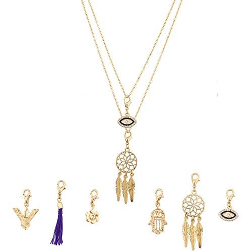 Lux accessori intercambiabili collana ciondoli Hamsa Acchiappasogni con occhio floreale Eagle Bird Set