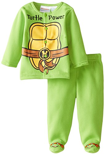 Nickelodeon Baby Baby-Boys Infant Ninja Turtle Newborn Fleece Jacket Pant Set with Footies, Green, 6-9 Months