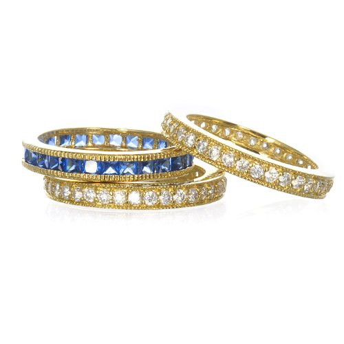 SYNTHETIC SAPPHIRE 3 ETERNITY BAND SET