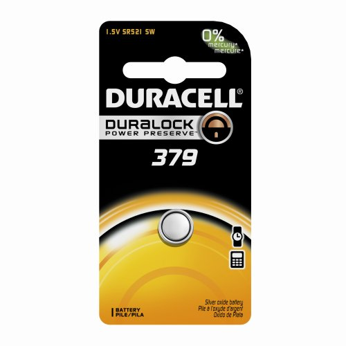 Duracell D379BPK09 Silver Oxide Electronic Watch Battery, 379 Size, 1.55V, 14 mAh Capacity (Case of 6)
