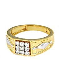 Men's Anniversary Band Ring For Free Shipping In 18K White & Yellow Gold Over .925 Sterling Silver - B014COXAEM