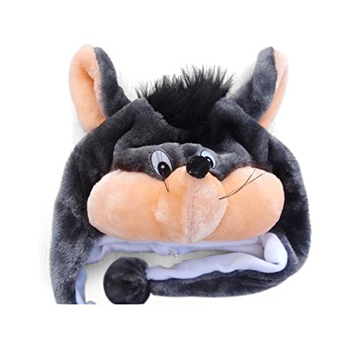 TopTie Weichtier Hut mit Ohrenklappen, Pelztier Hood Cap - Graue Maus