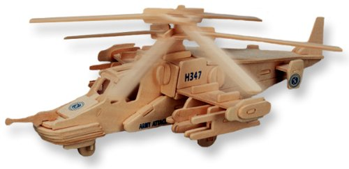 3-D Wooden Puzzle - Black Shark Helicopter Model -Affordable Gift for your Little One! Item #DCHI-WPZ-P072 - 1