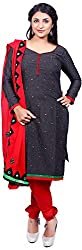 Raahi Unstitched Black Cotton Embroidered Dress Material - Salwar Suit