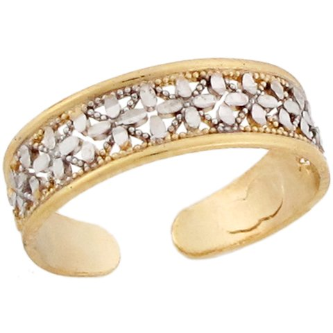 10k Two Toned Real Gold Petite Cross Designer Ladies Toe Ring