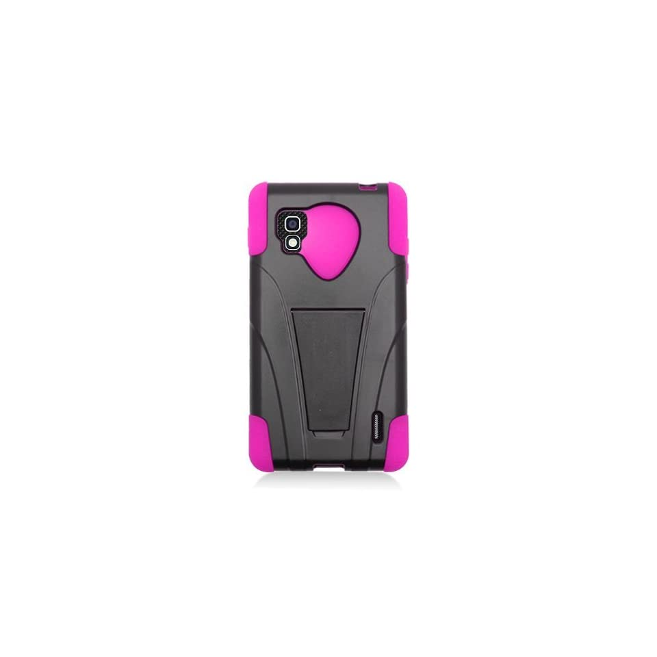 Eagle Cell PHLGLS970YSTHPKBK HypeKick Hybrid Protective Gummy TPU Case with Kickstand for LG Optimus G LS970   Retail Packaging   Hot Pink/Black