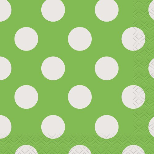 Beverage Napkins 16/Pkg-Lime Green Decorative Dots - 1