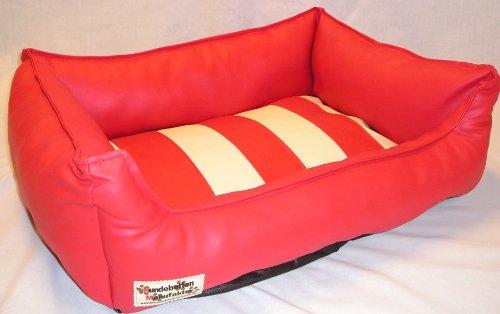 Artikelbild: Hundebett Hundesofa Schlafplatz Kunstleder Rigato 90 cm X 70 cm rot creme