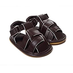 LIVEBOX Infant Baby Boys and Girls Moccasins Premium Soft Rubber Sole Anti-Slip Summer Prewalker Toddler Sandals(M: 6~12 months,Coffee)