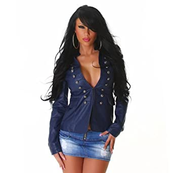Trendy military jacket in leather look Marine T1/34 (3B010)