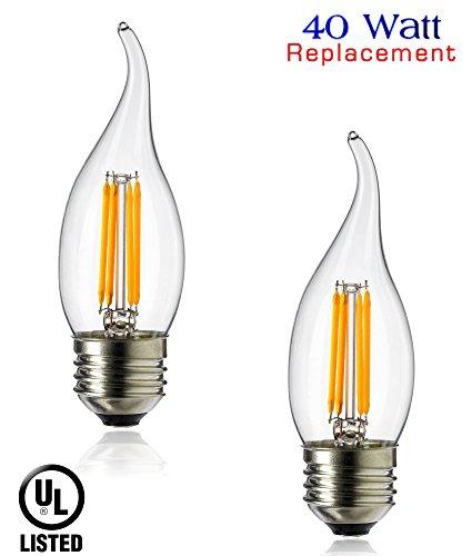 Luxrite LR21205 (2-Pack) LED Filament Medium Base Flame Tip Chandelier Light Bulb, 4-Watt Equivalent To 40w Incandescent Chandelier Bulb, Warm White 350 Lumens 2700K, 260° Beam spread degree, 15,000 Hour Life, E26 Medium Base UL-Listed (Lightbulb Shaped Led compare prices)