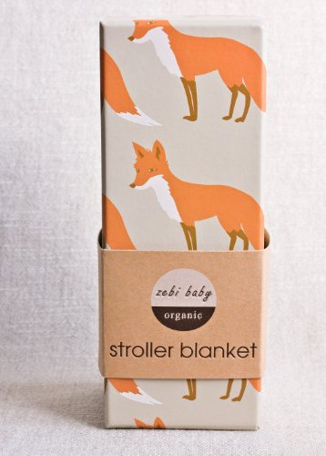 "Zebi Baby Organic Stroller Blanket ""Orange Fox"""