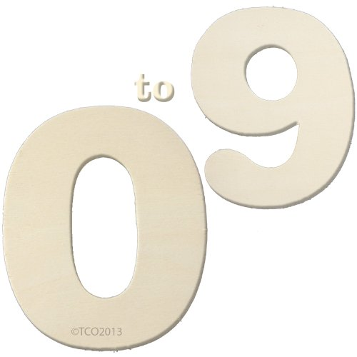 The Crafts Outlet 4-Inch Wooden Number Set, 1/4-Inch Thick, Numbers 0-9 (Wooden Number Set compare prices)