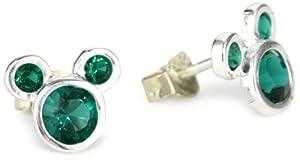 "Disney ""Mickey"" Girl's Sterling Silver May Birthstone Stud Crystal Earrings from Disney"