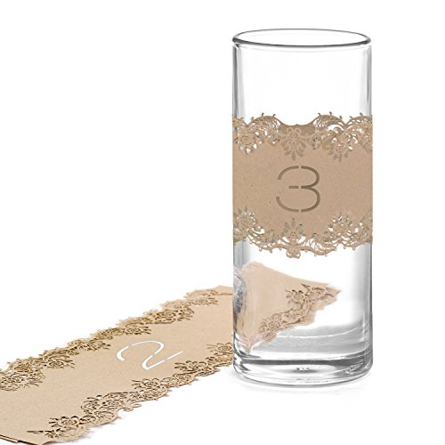 Hortense B. Hewitt 25260 Kraft Laser Cut Table Number Wraps, Numbers 1 to 10, Tan (Rustic Country Candle Wrap)