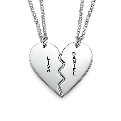 Personalized Sterling Silver Breakable Heart Necklaces - Custom Made With 2 Names! Free Engraving! (20 Inches)