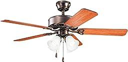 Kichler Lighting 339240OBB Renew Premier 50-Inch 4-Light Ceiling Fan, Oil Brushed Bronze Finish with Reversible Blades and Light Kit