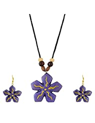 Arts N Crafts Chain & Drops Ethnic Necklace For Women Gaj202 ( Purple )