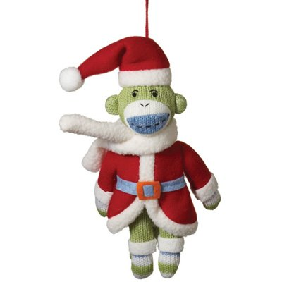 Genuine Monkeez Santa Sock Monkey Christmas Ornament