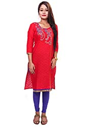 Indibelle Women Red Jaquard Embroidered 3|4Th Sleeve Self-Design Kurti