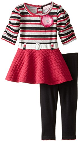 Little Lass Baby Girls' 2 Piece Hacci Set Cheetah Quilted Knit, Grey Heather, 18 Months