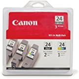 Canon BCI-24 Ink Cartridges Two Black/One Color -3 Pack (6881A039)