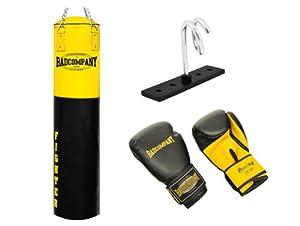 Fighter Box-Set inkl. Boxsack 180 x 35cm gefüllt, PU Boxhandschuhe, Deckenhalterung und Heavy Duty Vierpunkt-Stahlkette