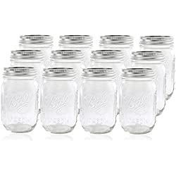 12 Ball Mason Jar with Lid - Regular Mouth - 16 oz