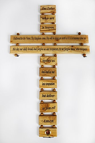 Olive Wood Crucifix / Wall Cross adorned with the