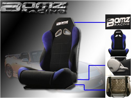 A Set of 2 Universal Fit Cloth Racing Sport Bucket Seats - Black Racing Seat
