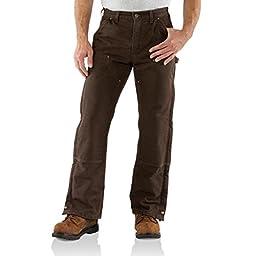 Carhartt Men\'s Sandstone Waist Overall Quilt Lined,Dark Brown,36 x 34