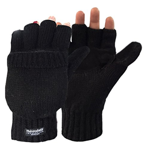 Korlon Wool Knitted Convertible Fingerless Gloves with Mitten Cover, Black
