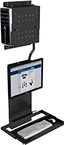 Ultra Flat Wall Mount Computer Station - Black