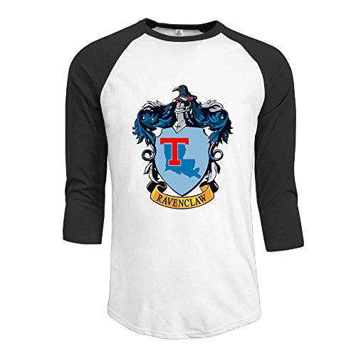 [PKTWO Louisiana Tech University Ravenclaw Crest Men's T-shirt 3/4 Sleeve Tees Black XXL] (Ravenclaw Mascot)