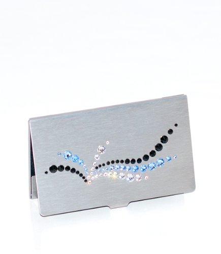 mikaela - Custodia lussuosa per bigliettini da visita con cristalli Swarovski, colore: argento, nero, grigio