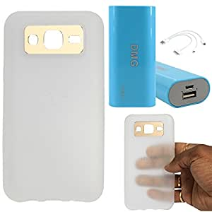 DMG iFace Scratch-Resistant Slim Silicone Shock Proof TPU Back Cover Case for Samsung Galaxy J5 J500 (White) + 3600 mAh Power Bank