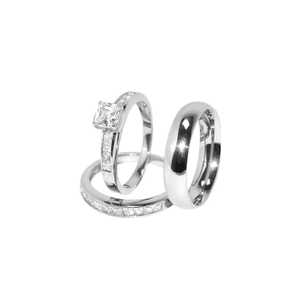 His and Hers 3 Pcs Stainless Steel Princess CZ Engagement Ring set and Mens Matching Band, AVAILABLE SIZES men's 8~14; women's set 5~10. WHOLE SIZE ONLY. CONTACT US BY EMAIL THROUGH  WITH SIZES AFTER PURCHASE Jewelry