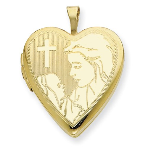 1/20 Gold Filled 20mm Mother holding child with Cross Heart Locket - JewelryWeb