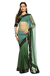 Anvi Shaded Deep sea green net designer saree with unstitched blouse (1499)